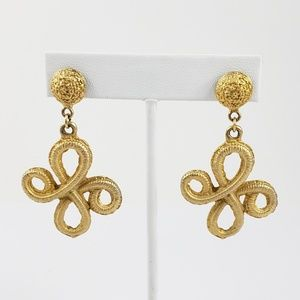 Vintage Drop Earrings Gold Tone Embroidery Tooling